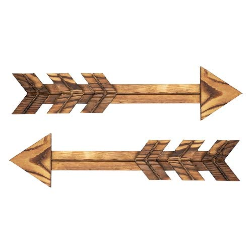 AHXML Wooden Arrow Shape Wall Decor, Decoration for Indoors, Wooden Arrow Shape Route Sign, Road Sign, Guidepost for Outdoors, Set of 2