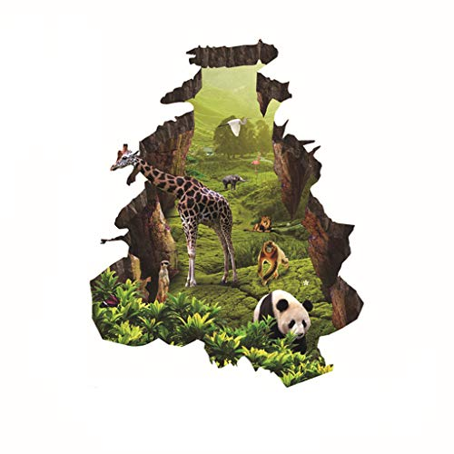 NewKelly DIY 3D Animals Wall StickersKids Nursery Home Decor Mural Art Decal Removable ()