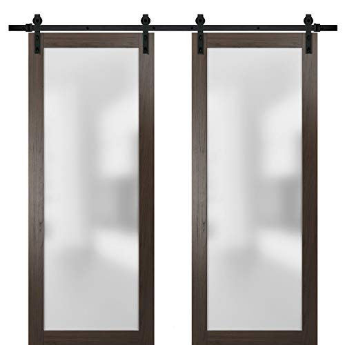 Sliding Double Barn Lite Glass Doors 64 x 96 | Planum 2102 Chocolate Ash | 13FT Rails Hangers Stops Hardware Set | Modern Solid Core Wood Interior Doors