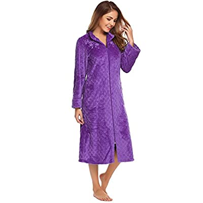 03e0ead3a2 Acecor Women Stand Collar Long Sleeve Soft Plush Zip-front Bathrobe  Sleepwear Long Robe