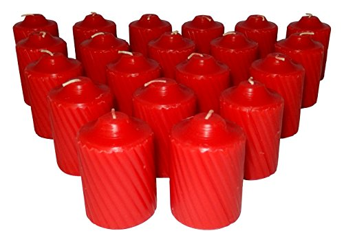 d Red Votive Candles 20 Candles Per Box with Texured Finish (Red Spice Scent) ()