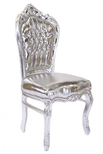 Casa Padrino Barock Esszimmer Stuhl Silber Lederoptik Silber Antik