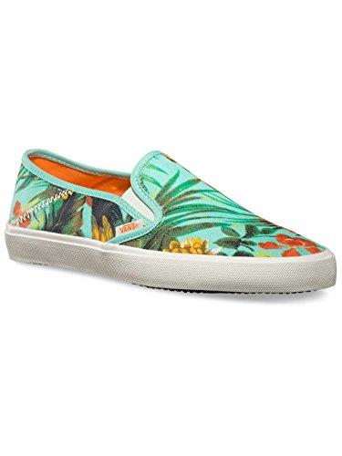 Vans W Comina zapatillas para mujer con estampado de rayas finas, color blanco y azul marino - loro tropical - playa g, 37
