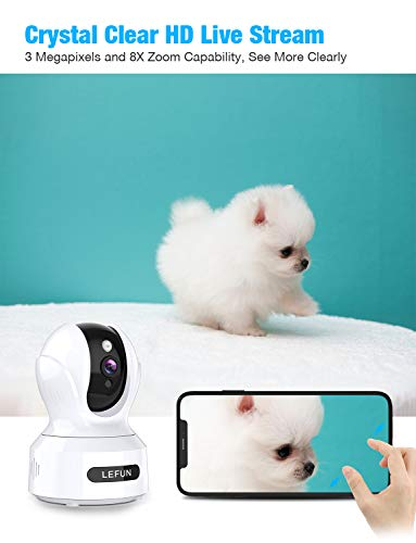 3MP Wireless Home Security Camera,Lefun 1536P HD Pet Camera with Sound Detection Motion Tracking 2-Way Audio,Pan/Tilt/Zoom WiFi IP Camera, Indoor Surveillance Baby Cam with Night Vision Cloud Service