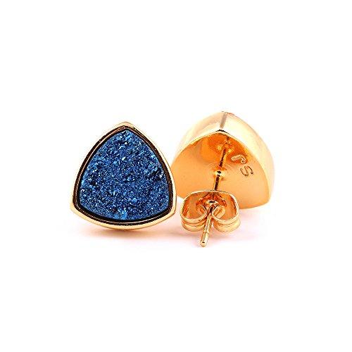 ShinyJewelry Chic Triangle Shape Druzy Stud Earrings 24k Gold Plated Piercing Earring (Blue)
