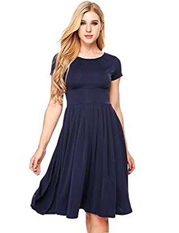 GEESENSS Women's Wear to Work A-Line Pleated Casual Flare Swing Dress,Navy Blue,S (Midi Cotton Dress)