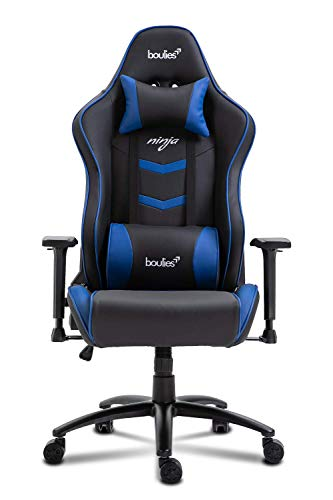 boulies Ninja Gaming Chair Racing Style Ergonomic Office Chair E-Sports Chair Multi-Function Desk Chair Video Game Chair with Speaker - Black & Blue boulies