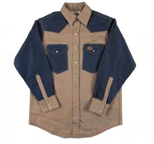 2 Tone Western Shirt (Men's Rasco 10-oz. Fire Retardant Two Tone Long Sleeve Western Shirt, KHAKI/DENIM, XL)