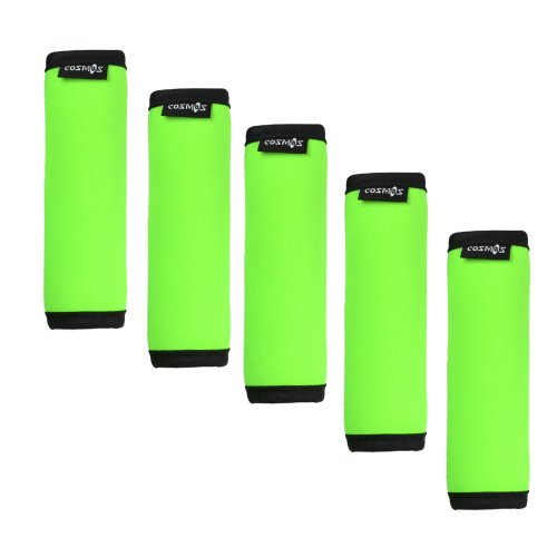 Wrap Luggage Tag (Cosmos ® 5 Pieces Fluorescence Green Comfort Neoprene Handle Wraps/Grip/Identifier for Travel Bag Luggage Suitcase)