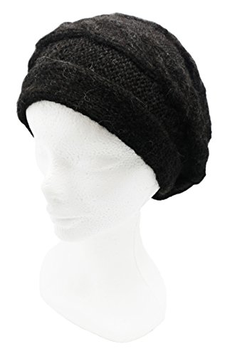 Handmade Signature PURE ALPACA Slouchy Berete for Snow and Ski (Black) by BARBERY Alpaca Accessories