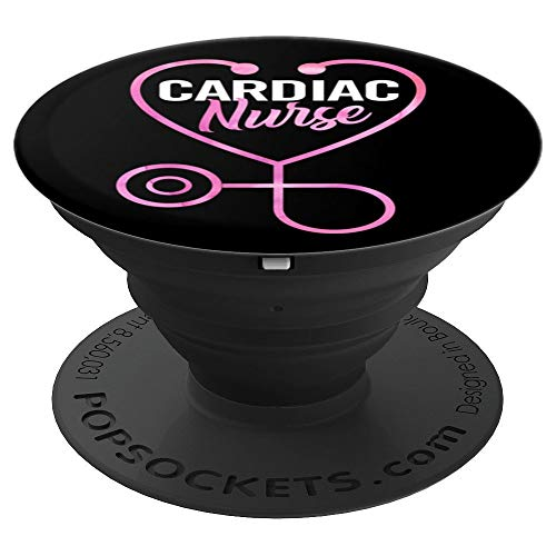 Cardiac Nurse Heart Stethoscope Cardiology Nurse Gift - PopSockets Grip and Stand for Phones and Tablets