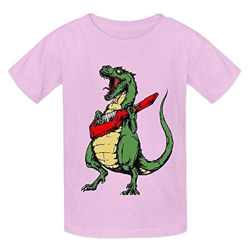 Snowl T Rex Keytar Kid's Crew Neck Graphic T Shirt Pink (Adult Cheer Bear Dress)