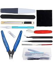HSEAMALL Kit de herramientas modelo Guandam, 12 piezas, herramientas de construcción de hobby, herramientas básicas para modelador Bandai, Hobby, Gundam, modelo de coche, reparación de edificios