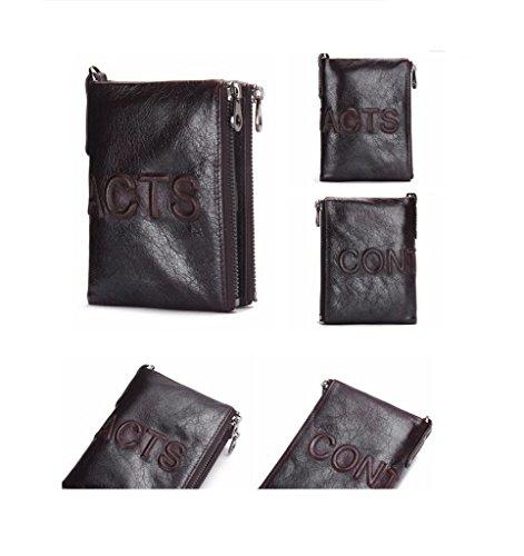 Purse Double Bifold Large Zipper Leather brown Capacity Men Genuine Dark Brown1 HYSENM Short Retro Wallet wqzT00YHx