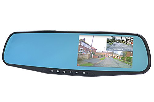 """GOSO Front and Rear Dash Camera Dual Lens Rearview Mirror with HD LCD Screen, Motion Shock Sensors, 4.3"""""""