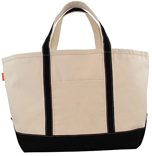 Cotton Boat Tote - CB Station - Boat Tote Large- BLACK Canvas Bag