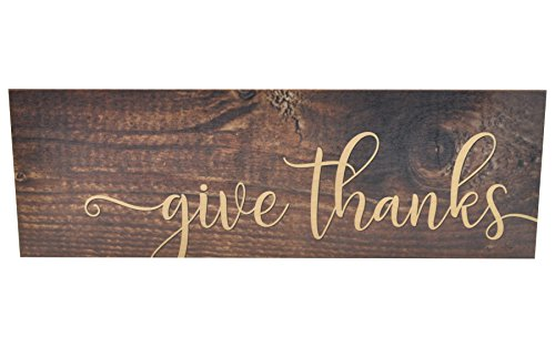 Give Thanks Wood Wall Sign 6x18 -