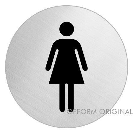 """2 opinioni per OFFORM Targa autoadesivo in acciaio inox Ø 75 mm No.8472 """"Toilette Donne"""""""