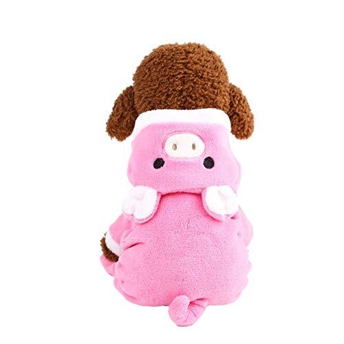Adarl Winter Warm Pet Dress up Costumes Dog Jumpsuit Coat Colothes Soft Fleece Hoodies Pig Apparel for Puppy Dog Cat Pink/L -