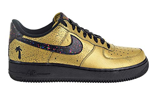 Nike AIR Force 1 '07 Mens Fashion-Sneakers AV3219-700_4 - Metallic Gold/Black-Black-RED Orbit (Nike Air Force One Purple And Gold)