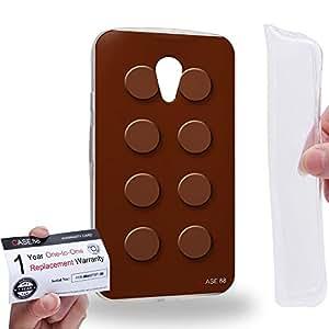 Case88 [Motorola Moto G (2nd Gen.)] Gel TPU Carcasa/Funda & Tarjeta de garantía - Art Fashion Brown Building Blocks Art1583