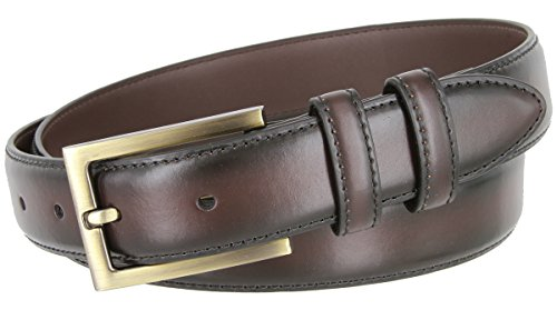 BL010 Smooth Burnish Edge Style Genuine Leather Office Dress Belt 1-1/8 Wide