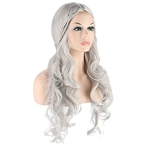 Long wave curly hair cosplay Wigs for Game of Thrones Daenerys Targaryen khaleesi Long Wavy Wigs games halloween party Costumes Wigs (Silvery Grey) ()