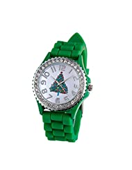 Changeshopping Christmas Snowman Silica Gel Quartz Analog Watch as Christmas Gift (green)