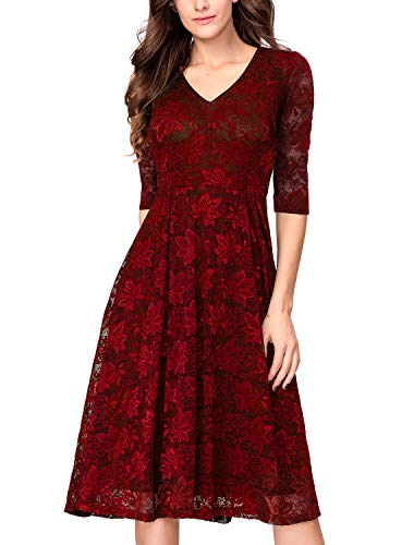 (Women's Vintage 1950s Lace 2/3 Sleeve Midi Holiday Cocktail Party Swing Dress Burgundy)