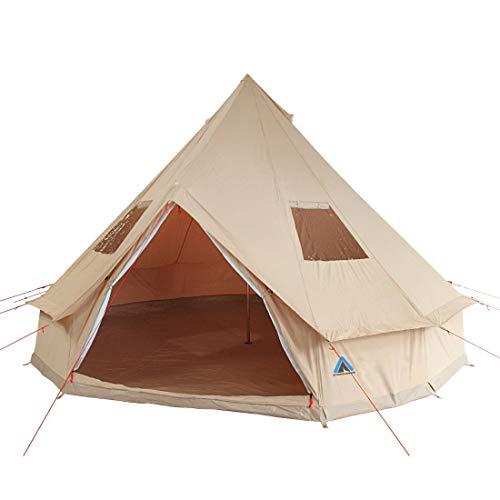 10T Tipi Zelt Desert Cotton, Campingzelt mit / ohne Sonnendach & ø 400 / ø 500 cm zur Wahl, 8 – 10 Mann Pyramidenzelt…