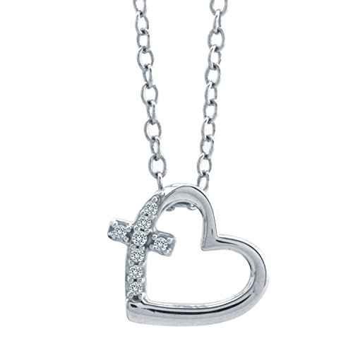 10K White Gold Diamond Accent Heart with Cross Pendant