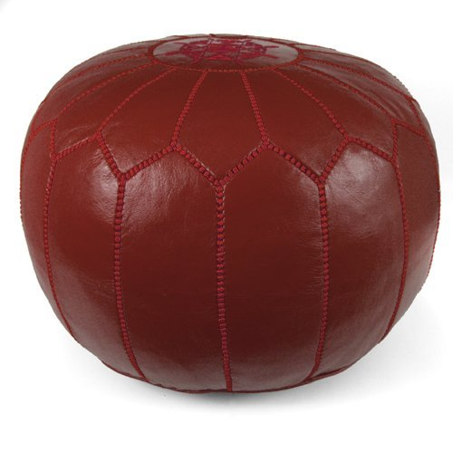 Mina Stuffed Moroccan Leather Pouf Ottoman, Many Colors Available, 20'' Diameter and 13'' Height (Garnet) by Mina Poufs