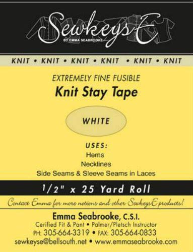 White - 1/2 Fusible Knit Stay Tape - 0.5 X 25 Yards SewkeysE Extremely Fine Knit Interfacing Sold by The 25 Yard Roll (KST-01) M494.09 Field' s Fabrics