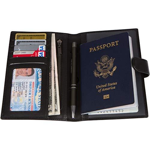 RFID Blocking Genuine Leather Passport Holder Cover Case & Travel Wallet for Men and Women - Black