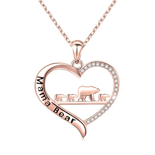 (ENSIANTH Mama Bear Necklace Heart Pendant Gift for Mother's Day)