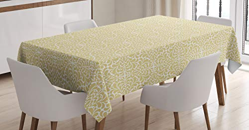 Tablecloth, Marbling Art Teardrop Shaped Drops Floating Droplets and Splashed Dots, Dining Room Kitchen Rectangular Table Cover, 52 W X 70 L Inches, Sand Brown and White ()