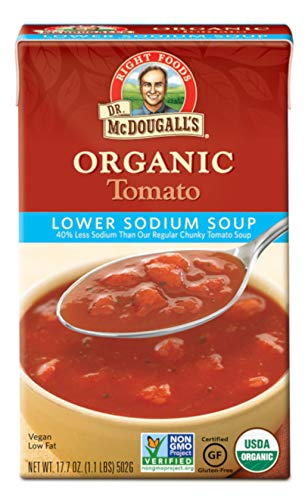 (Dr. McDougall's Right Foods Organic Lower Sodium Tomato Soup, 17.7 Ounce (Pack of 6) Vegan, Gluten-Free, USDA Organic, Non-GMO, No Added Oil, Paper Cartons From Certified Sustainably-Managed Forests)