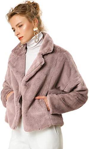 Allegra K Women's Autumn Winter Cropped Jacket Notch Lapel Faux Fur Fluffy Coat
