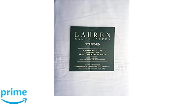 Amazon.com: Lauren Ralph Lauren 4 Piece Cotton Wrinkle Resistant King Size Sheet Set Solid White -- Stafford: Home & Kitchen