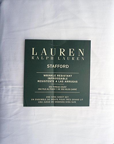 Lauren Ralph Lauren 4 Piece Cotton Wrinkle Resistant King Size Sheet Set Solid White -- ()