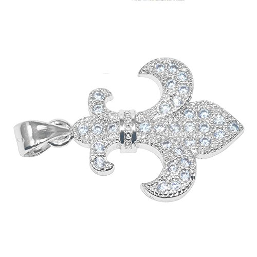 DongStar Jewelry Premium Cooper Paved Cubic Zirconia Crystal Fleur de Lis Lily Flower Jewelry Necklace Pendant (Silver)