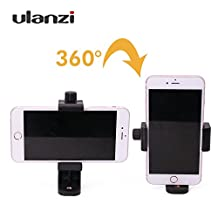 Universal Smartphone Tripod Adapter Cell Phone Holder Mount Adapter, Fits iPhone, Samsung, and all Phones, Rotates Vertical and Horizontal, Adjustable Clamp