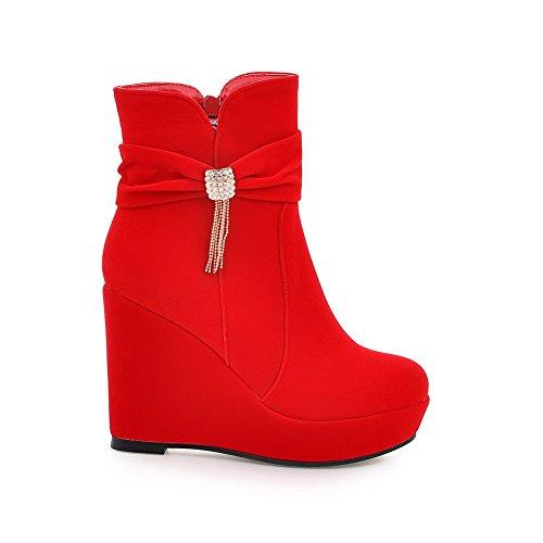 AgooLar Damen Niedrig-Spitze Rein Reißverschluss Stiefel mit Beschlagene Strass, Weinrot, 36