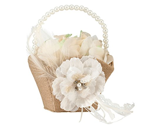 Lillian Rose Rustic Burlap Lace Wedding Flower Girl Basket