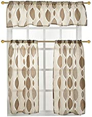 LiveGo 3 Pieces Kitchen Window Curtains and Valances Set for Bedroom,Living Room,Bathroom, Jacquard Rod Pocket Sheer Tier Small Kitchen Window Curtains (Light Brown)