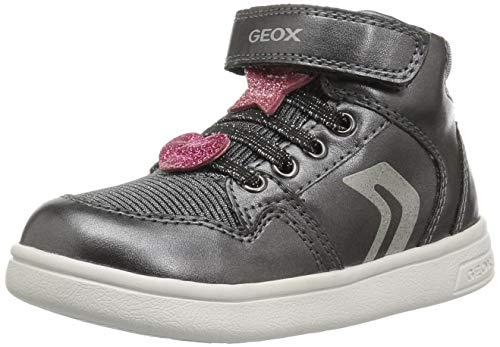 Geox DJ Rock Girl 12 Glitter High Top Sneaker, Dark Grey 27 Medium EU Toddler (10 US) ()