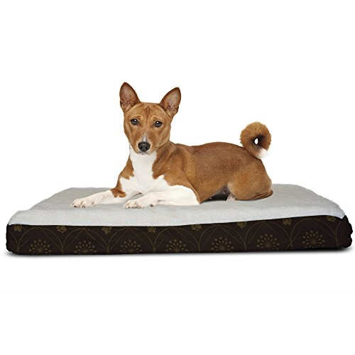 FurHaven Pet Dog Bed | Deluxe Orthopedic Faux Sheepskin Mattress Pet Bed for Dogs & Cats, Dark Espresso, Medium ()