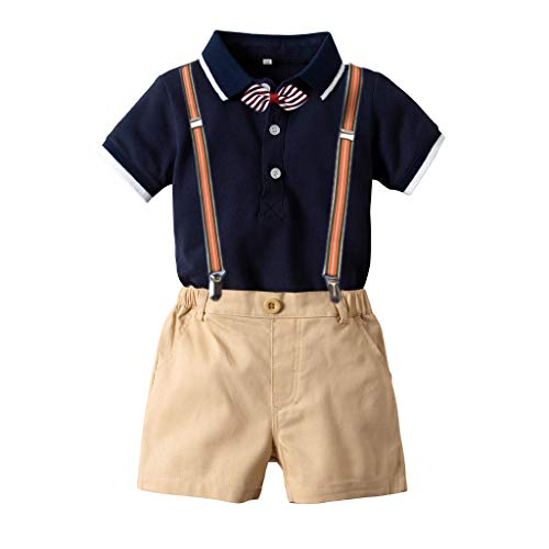 Overalls Outfit Baby Boy,Kids Baby Boys Gentleman Set Bowtie Print Short Sleeve Shirt+Suspenders Shorts,Boys' Fashion,Navy,6-12M