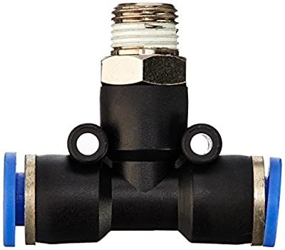 """MettleAir Push to Connect Male T Branch Fitting, 6 mm OD, 1/8"""" NPT"""