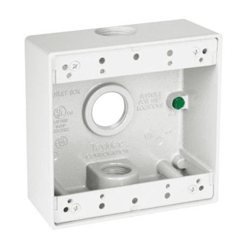 TayMac DB375WH 3/4-Inch 3 Hole 2-Gang Weatherproof Box, 3/4-Inch Outlets, -